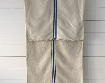 Blue Stripe Off White Vintage Cotton Linen Grain Sack Sewing Projects Upholstery Bath Mat or Laundry Bag   NS2144    Washed and ready to Go