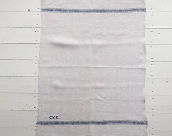 NTT1904 Blue Stripe Tea Towel Linen for with 'GYE' Monogram