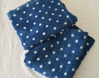 Large Indigo Blue Dyed Natural Polka Dot Design Hungarian Vintage Faded Fabric Tablecloth Bed Sheet Throw Headboard Upholstery