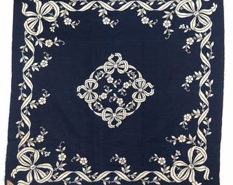 Medium Indigo Blue Dyed Austrian Vintage Fabric Tablecloth