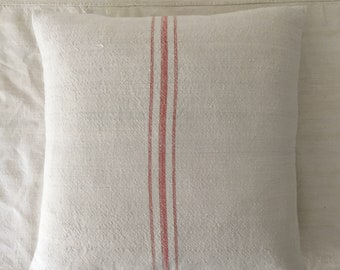 Vintage Hungarian Hand Spun Linen Cushion Pillow COVER ONLY Red Striped Linen Rustic Interior Homeware