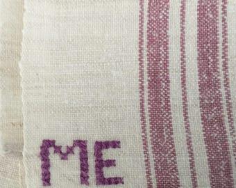 NTT1102 Lilac Stripe Tea towel  Linen for with 'ME' Monogram