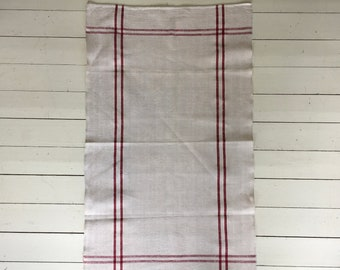 NTT1300 Red Maroon Striped Natural Limestone Vintage Linen Tea Towel Fabric Striped Sewing Projects Upholstery Bath Mat or Laundry Bag