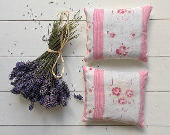 Vintage Pink Rose Cotton Lavender Pillows