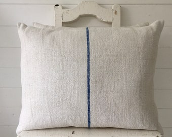 Vintage Hungarian Hand Spun Linen Cushion Pillow Off White with Royal Blue Stripe Complete with Made to Measure Feather Pad FC2003