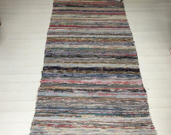 RR1701 Vintage Swedish Rag Rug Multi Colored Stripey Rag Rug Runner Upcycled 1930s Floor Cover European Interior Antique