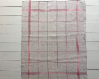 Pink Red Stripe Checked Tea Towel Linen Vintage Fabric Handmade Linen