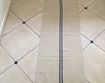 Blue Stripe Twill Natural Sandstone Vintage Linen Grainsack