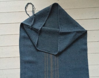Grey Blue Dyed Vintage Linen Grain Sack with Taupe Stripe Upholstery Fabric Flour Sack for Sewing Projects Bath Mat Pillow Cover DNS2000