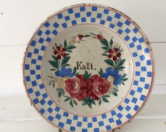 Kati Name Floral Bowl Rustic Terracotta Hungarian Pottery