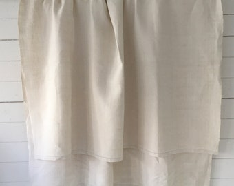 Off White Tablecloth Sheet Fine Hand Spun Linen with Open Thread Work Hems Sewing Projects Blinds Curtains Washed and ready to Go NTS2110