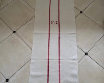 Red Monogrammed 'FJ' Natural Limestone Vintage Linen Grainsack