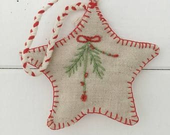 Large Vintage Linen Christmas Star Decoration