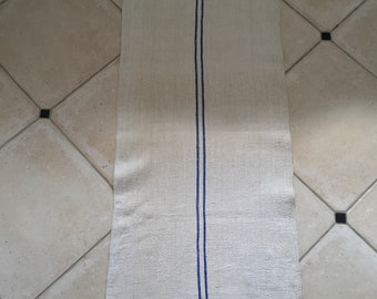 Blue Stripe Natural Limestone Vintage Linen Patched Grainsack
