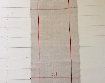 NTT2020 Red Stripe Linen Tea Towel  with 'KI' Monogram Vintage Fabric Handmade Hand-spun Home-spun