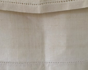 Off White Tablecloth Sheet Fine Hand Spun Linen with Open Thread Work Hems Sewing Projects Blinds Curtains Washed and ready to Go NTS2108