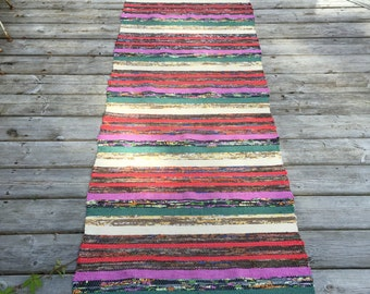 RR1612  Vintage Swedish Rag Rug in Purple Green Brown Colored Stripey
