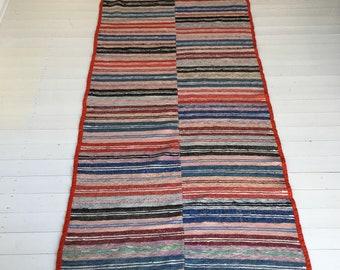 Vintage Swedish Rag Rug Double Width Multi Coloured Stripey Rag Rug