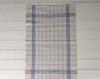 Blue Stripe Checked Tea Towel Linen Vintage Fabric Handmade Linen