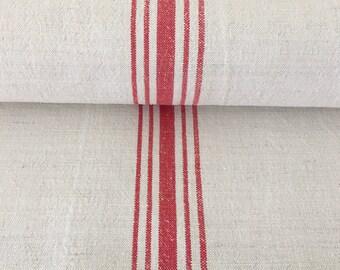 Red Stripe Natural Sandstone Vintage Cotton/Linen Grainsack Fabric One Piece