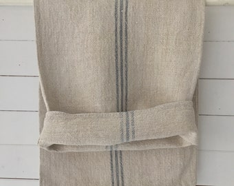 Grey Stripe on Stone Natural Vintage Linen Grainsack Fabric Sewing Projects Upholstery Bath Mat or Laundry Bag NS2114