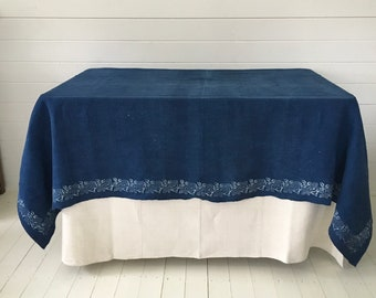 DTS128 Indigo Dyed Old Rose Print Tablecloth Linen for Cafe Tables Small Tables Vintage Fabric Handmade Linen