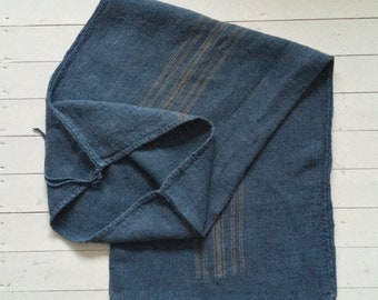 Dark GreyBlue Dyed Vintage Linen Grain Sack with Taupe Stripe Upholstery Fabric Flour Sack for Sewing Projects Bath Mat Pillow Cover DNS2002