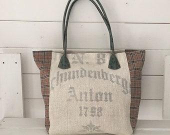 Upcycled Printed Pocket Handbag Vintage Hungarian Linen