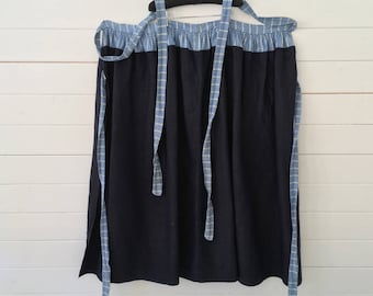 Dutch Indigo Blue Vintage Apron Wrap-around Skirt