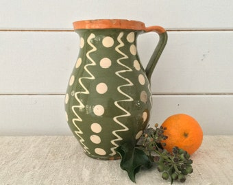 Rustic Terracotta Hungarian Pottery Glazed Ceramic Jug -  Decor Polka Dot and Zigzag Lined Design