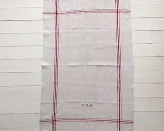 NTT1908 Red Stripe Tea towel Linen for with 'JZM' Monogram