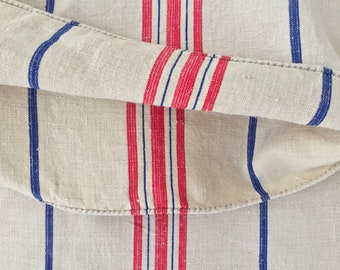 Red and Blue Stripe Natural Vintage Linen Grainsack Fabric Sewing Projects Upholstery Bath Mat or Laundry Bag Washed and ready to Go NS2134