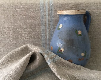 Grey Linen Roll with Pale and Royal Blue Stripe Sewing Projects, Table Runner, Bolsters, Pillows and Cushions  Washed and ready to Go