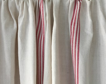 Faded Red Stripe Fine Linen Off White Cart Cover Bed Spread Curtains Sewing Projects Hand Spun Linen    Washed and ready to Go     CC2101