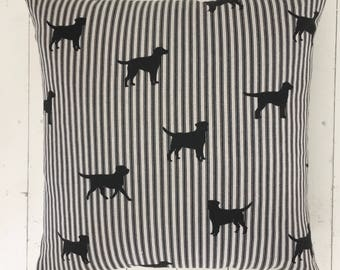 Black Dog Cushion COVER ONLY with Vintage Linen Backing Rustic Interior Homeware