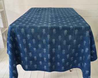 Large Indigo Blue Dyed Natural Tumbling FlowersHungarian Vintage Fabric Tablecloth DTS1951