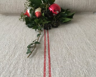 Raspberry Red Stripes Natural Oatmeal Vintage Linen Per Metre Table Runner Upholstery Projects Blinds Chairs Washed and ready to Go NLR2027
