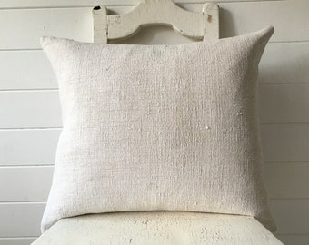 Vintage Hungarian Hand Spun Slubby Linen Cushion Pillow Natural Off White  Complete with Made to Measure Feather Pad CC2006