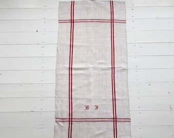 NTT1902 Red Stripe Tea Towel Linen for with 'DM' Monogram
