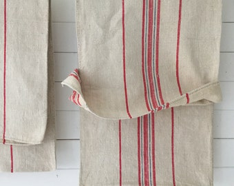 Pink Red and Blue Stripe Natural Vintage Linen Grainsack Fabric Sewing Projects Upholstery Bath Mat or Bags Washed and ready to Go NS2136