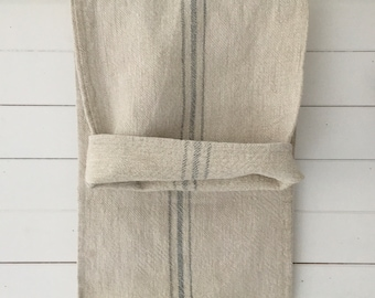 Grey Stripe on Stone Natural Vintage Linen Grainsack Fabric Sewing Projects Upholstery Bath Mat or Laundry Bag NS2113