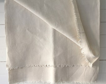 Off White Tablecloth Sheet Fine Hand Spun Linen with Open Thread Work Hems Sewing Projects Blinds Curtains Washed and ready to Go NTS2104