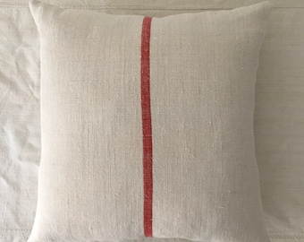 Vintage Hungarian Hand Spun Linen Cushion Pillow COVER ONLY