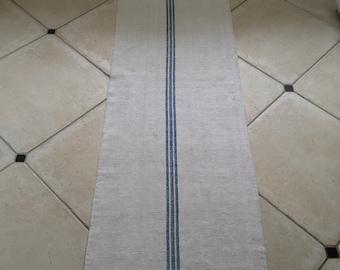 NS1829 Natural Limestone Vintage Linen Grainsack Fabric Blue Striped