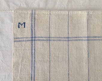 M Monogram Blue Double Stripe Checked Linen Napkin/Placemat Vintage Fabric Handmade Linen NNP1601