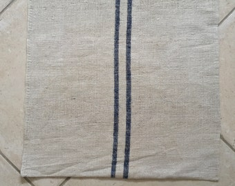 NS1831 Blue Stripe Natural Limestone Vintage Linen Grainsack Chair Fabric Striped Sewing Projects  Upholstery Bath Mat or Laundry Bag