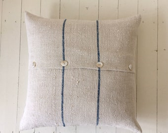 Vintage Hungarian Hand Spun Linen Cushion Pillow COVER ONLY Faded Indigo Blue Stripes Linen Rustic Interior Homeware