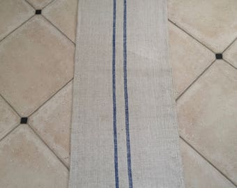 NS1808 Blue Stripe Twill Natural Sandstone Vintage Linen Grainsack