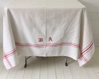 NCT404 Red Stripe Tablecloth Linen for Cafe Tables Small Tables with Monograms Vintage Fabric Handmade Linen