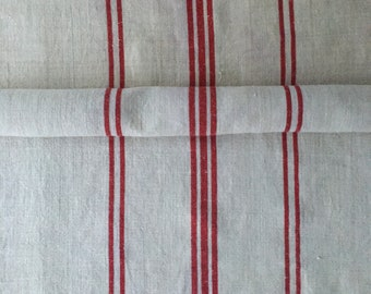 Red Stripes Fine Natural Off White Vintage Linen Roll Table Runner Upholstery Fabric Sewing Projects Upholstery Blinds Chairs NLR2026
